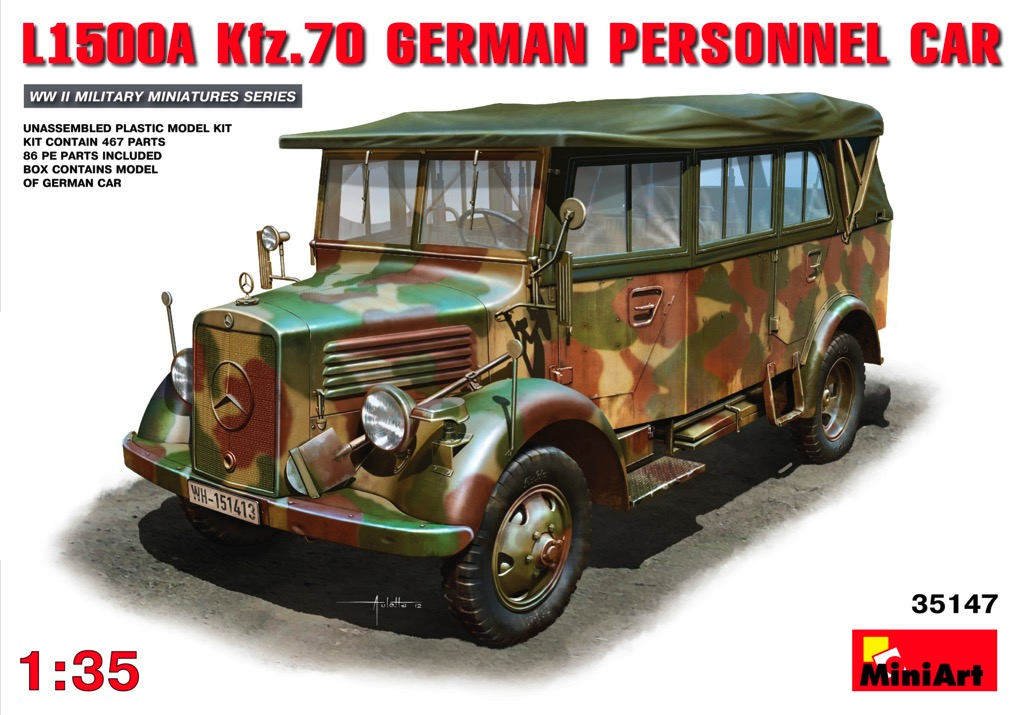 93792455b2ecee Scalehobbyist.com  L1500A Kfz.70 German Personnel Car by MiniArt Models